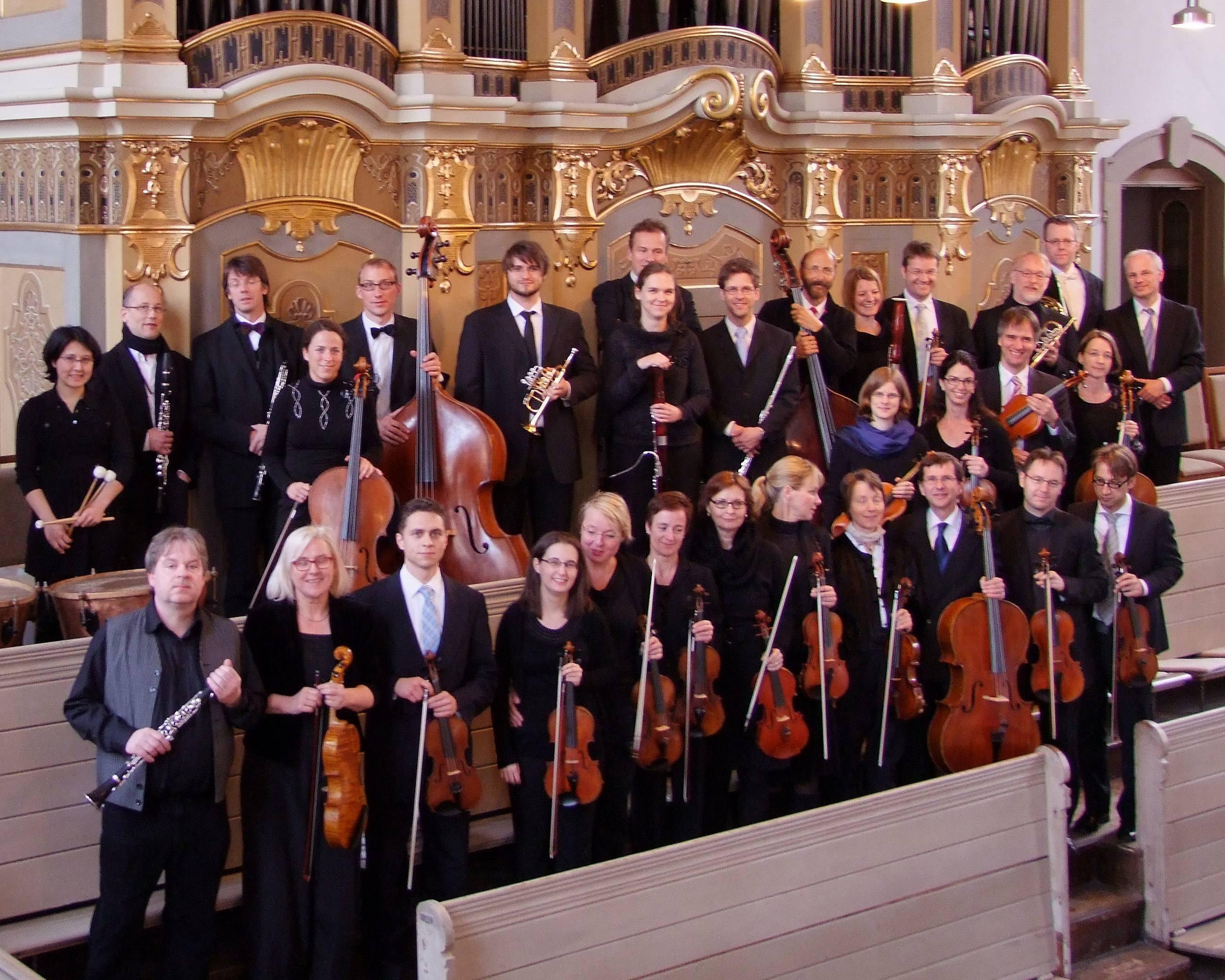 Kammerorchester an der TU Darmstadt  vor Freiberger Silbermannorgel